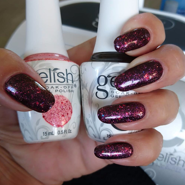 Gelish classic Gel manicure Long Black and Red Glitter