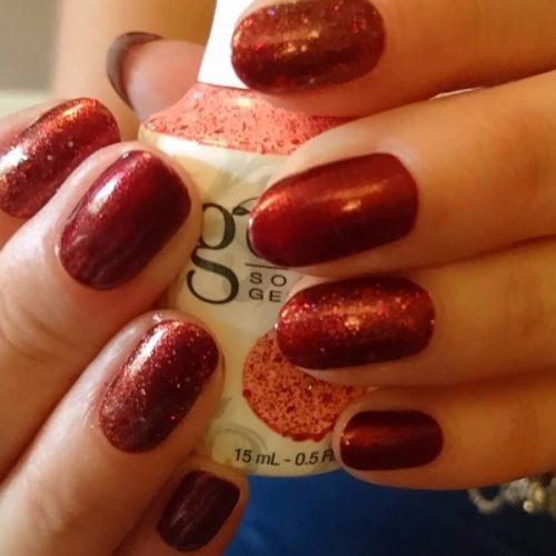 Gelish Gel Polish Red Glitter Classic deep red nails